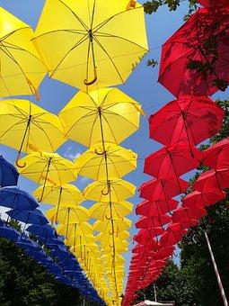 Travel, Umbrellas, Colors, Tourism, Holiday, City, Blue