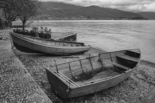 Boats, Beach, Lake, Morning, Winter, Lake Ohrid