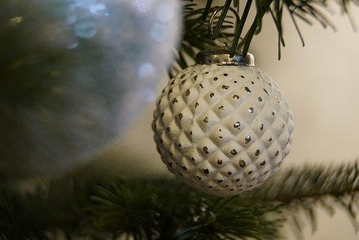 Bauble, White, Christmas, Xmas, Ornament, Seasonal