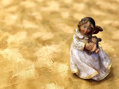 Angel, Christmas, Cherub, Harp, Figure