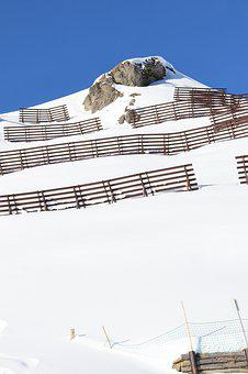 Avalanche Fence, Winter, Snow, Alps, Mountain, Austria