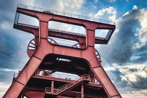 Headframe, Doppelbock Winding Tower, Ruhr Area, Bill