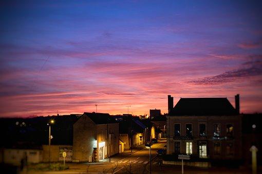 Sunset, Sky, Cityscape, Houses, Street, France