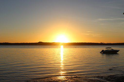 Sunset, Eventide, Speedboat, Sky, Landscape, Sol, Sun
