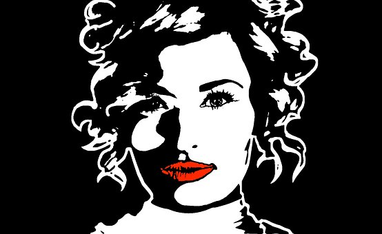 Girl, Woman, Portrait, Black White, Red, Lips, Stencil