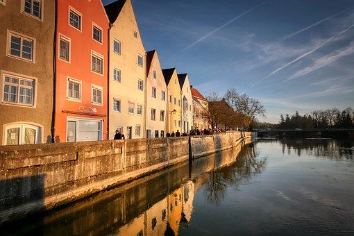 Landsberg, Lech, River, Bank, Promenade, Houses, Old