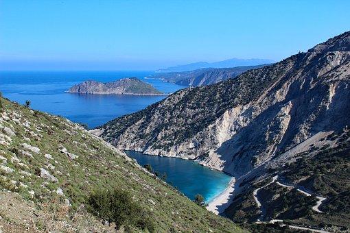Greece, Kefalonia, Myrtosbeach, Beach, Bay, Island, Sea