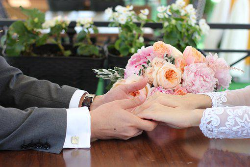 Bouquet, Hands, Love, Just Married, Holiday, Wedding