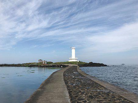 Lighthouse, Bridge, Sea, The Tide, Ebb, Scenery, Nature