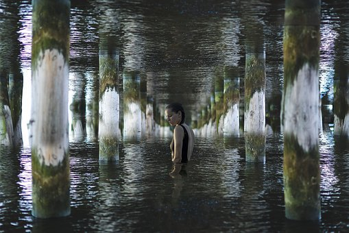 Water, Girl, Pier, Composing, Anxiety, Anxious