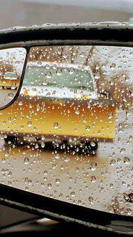 Plow Truck, Rain, Day, Rearview Mirror, Perspective