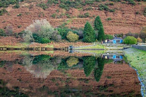 Reflection, Mirror, Lake, Reservoir, Trees, Blue House