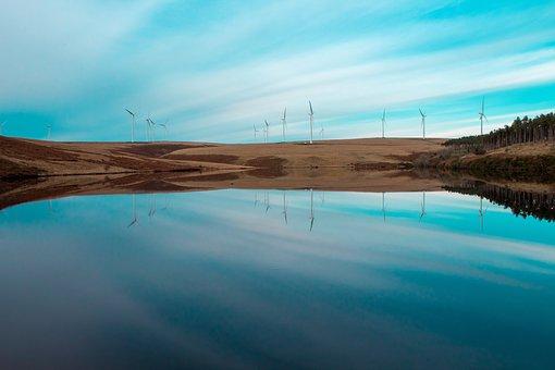 Reservoir, Wind Turbines, Clean Energy, Energy, Wind