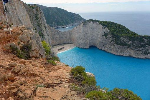 Shipwreck, Greece, Rock, Landscape, Water, Zakynthos