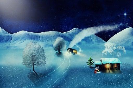 Christmas, Fantasy, Steam Locomotive, Snow Landscape