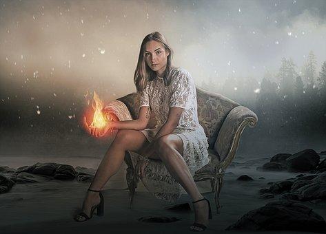 Fantasy, Fire, Magic, Woman, Girl, Young, Beauty, Model