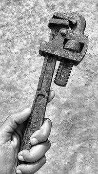 Pipe, Wrench, Tool, Metal, Iron, Plumbing