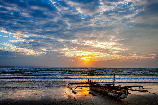 Landscape, Coast, Asahi, Boat, Cloud, Wave
