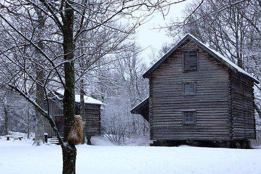 Landscape, Winter, Snow, Old Building, Storehouse