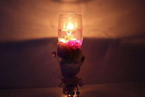 Candle Light, Glass Candle, Candle, Glass, Wine, Light