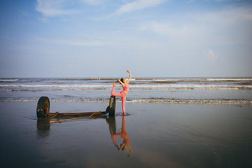 Yoga, Sport, Sea, Sky, Girl, Beautiful, Mirror, Pink