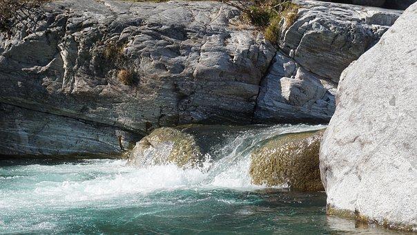Waterfall, Rock, M, River, Stream, Water, Nature