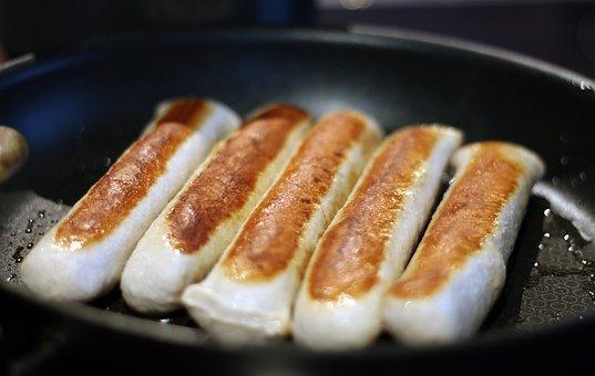 Bratwurst, Sausages, Pan, Sear, Cook, Grill Sausage