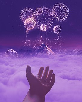 Mountain, Sky, New Year, Cloud, Galaxy, Fireworks