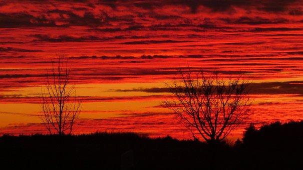 Sunset, Reddish, Red, Sky, Afterglow, Abendstimmung