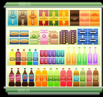 Supermarket Shelf, Products, Snacks, Crisps, Chips