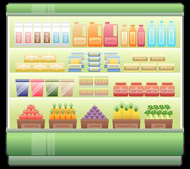 Supermarket Shelf, Chiller, Supermarket Chiller, Milk