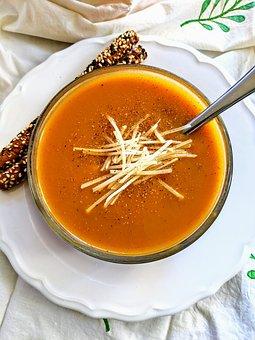Soup, Food, Butternut Squash Soup, Orange, Table Cloth