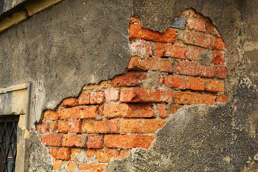 Building, Brick, Old, The Walls Of The, Destroyed