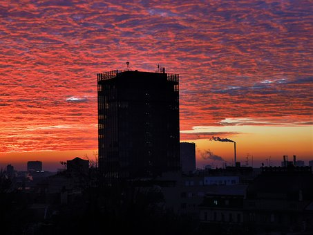 Sunrise, Dramatic Red Sky, Panorama, Zagreb, Winter