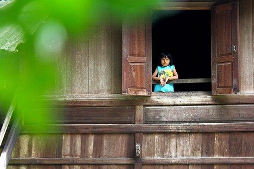 Girl, Adorable, Beautiful, Window, House, Traditional