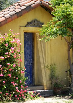 Yellow, Blue Door, Architecture, Colorful, House