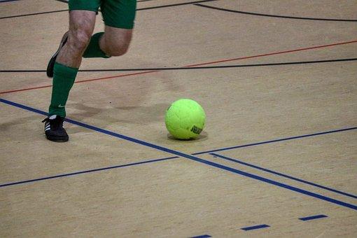 Indoor Tournament, Football, Field, Shoes, Ball, Sport