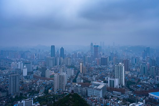 City, Overlook, Winter, Cloudy Day, Cold, Building