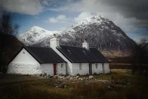 Glencoe, Scotland, Cottage, Highlands, Scenic, Mountain