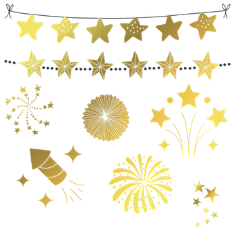 Gold New Years Decoration, Happy New Year, Sparklers