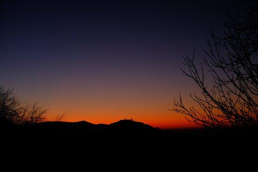 Swabian Alb, Sunset, Teck, Burg Teck, Limburg