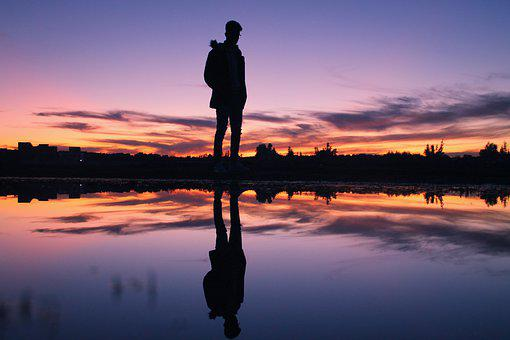Person, Man, Boy, Sunset, Twilight, Nature, Water