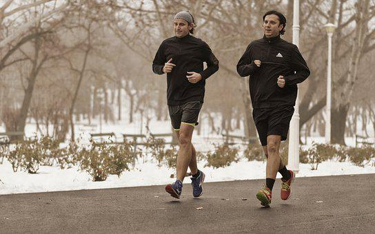 Men, Adult, Young People, Running, Winter, Park, Snow