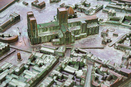 York, Map, 3d, Relief, City, Top View, Metal