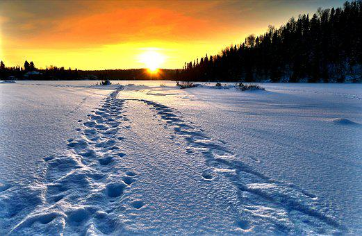 Landscape, Nature, Winter, Sunset, Cold, Gel, Snow