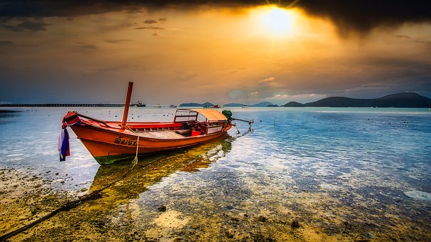 Boat, Sea, Ship, Water, Nature, Summer, Sun, Clouds