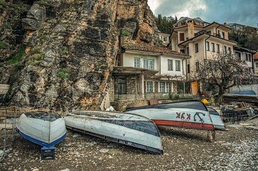 Boats, Lake Ohrid, Beach, Winter, Travel, Ochrid