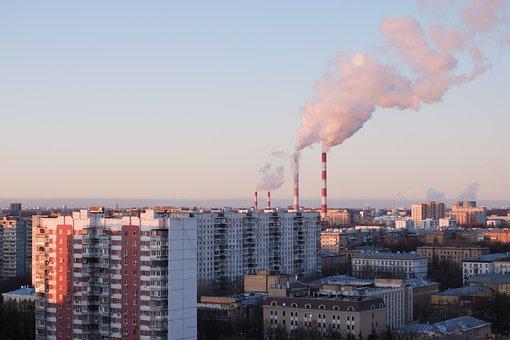 Building, City, Pipe, Smoke, Pairs, Sunset