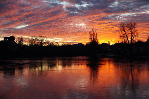 Panorama, Pond, Sunset, Colored, Evening, Scenic, Red