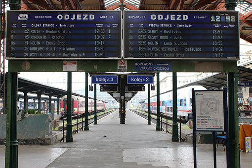 Prague, Railway Station, Railway, Transport, Train